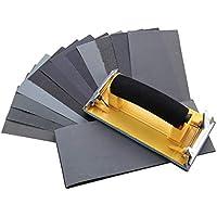 DRILLPRO Lot de 36 Papier de Verre Papier Abrasif Grit Assortiment 9 * 3,6 Pouces Feuilles avec Ponceuse à Main Papier à Sec à l'Eau 120/ 220/ 320/ 400/ 600/ 800/ 1000/ 1200/ 1500/ 2000/ 2500/ 3000 Avec 3 Feuilles/Grains
