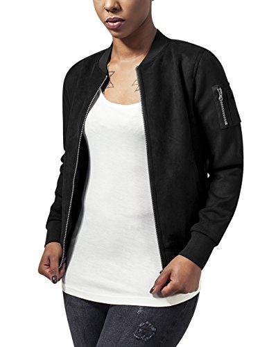 Urban Classics Damen Ladies Imitation Suede Bomber Jacket Jacke, - Schwarz (black 7) - S