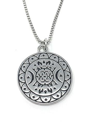 Silberton Pagan Shield Crescent Moon Auf Englisch Gravierte Anhanger Halskette 2.5cm Mit 45cm Kette Wicca Kunst Okkulte