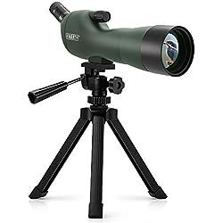 Ecoopro Emarth 20-60x60AE Longue-Vue Téléscope Anti-buée 45 Degrés Oculaire Incliné Longues-Vues avec Trépied, Optique Zoom 39-19m / 1000m pour Ciblage Tir Oiseau Regarder Chasse Faune Paysage