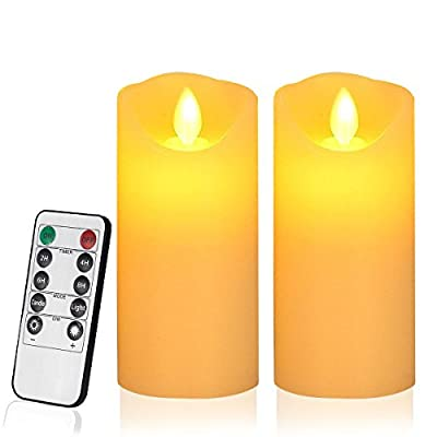 """Flameless Candles, LED Battery Candles 6"""" Height (Diameter 3"""" ) Set of 2 Real Wax Not Plastic Pillars Include Realistic Dancing 3D LED Flames and 10-key Remote Control with 2/4/6/8-hours Timer Function,200 hours-TooTaci (2 Pack, Ivory) from TAXI"""