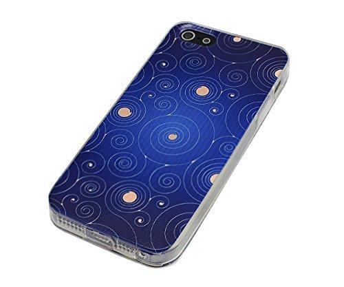 Lilware Imprint Étui Flexible En Gel TPU Sangle Portable Incluse, Radiant Carbon Black, Apple iPhone Se / 5 / 5S Rounded Circles Blue