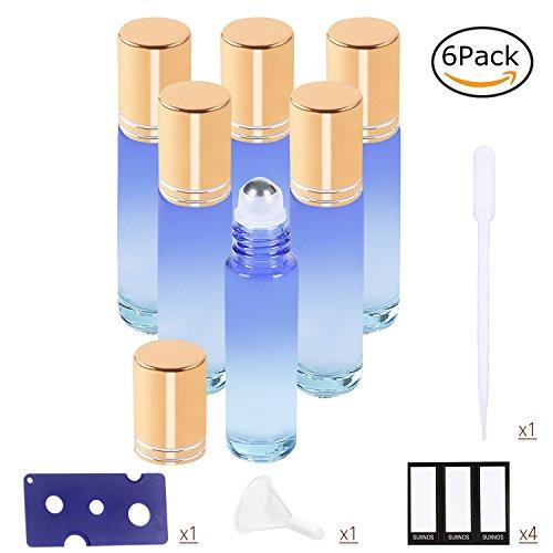 Ätherische Öle Roller Flaschen Blau Glasflaschen Edelstahl Roller Bällen 10ml mit für aromaöl und duftöl nachfüllbares 6 Stück (Trichter, Öffner, Etiketten, Plastik-Pipetten) (Öl 03)