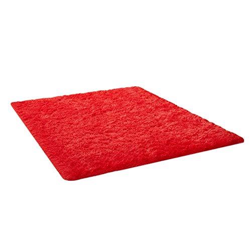 THEE Tappeto peloso morbido e antiscivolo da sala da pranzo e da camera da letto (160x120cm, Red)