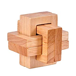 1 Game 3d Wooden Ming Lock Luban Set Puzzle Cube Puzzles Classic Games Of Rubik For Children And Adults (The Twisted Block)