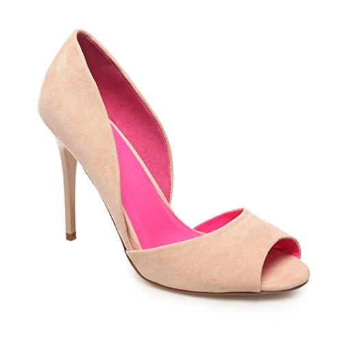 La Modeuse - Escarpins peep toes en simili daim Beige