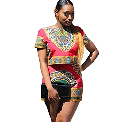 FEITONG Women Dashiki African Printing Short Sleeve 2 Piece Set