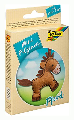 folia 52905 - Filz Nähset für Kinder-Mini Filzinie, Anhänger Pferd, 11 teilig - Filznähset zur Herstellung eines selbstgenähten Anhängers -
