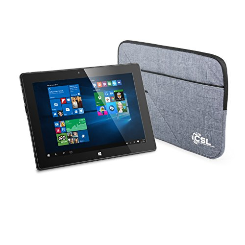 CSL Panther Tab 10 USB 3.1 inkl. Windows 10-10.1 Zoll (25,6cm) Tablet, Intel QuadCore CPU 4X 1920 MHz, 2GB RAM, 32GB SSD, Tasche