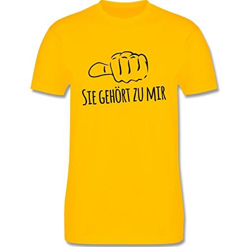 Valentinstag - Sie gehört zu mir Kombishirt für SIE und IHN - Herren Premium T-Shirt Gelb