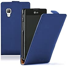 Membrane - Azul Funda Carcasa para LG Optimus L5 II (E460) - Flip Case Cover + 2 Protector de Pantalla