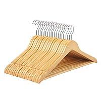 Highliving ® 20 Wooden Coat Hangers Suit Trouser Garments Clothes Coat Hanger Bar New