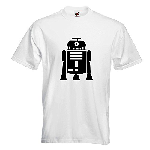 KIWISTAR - R2D2 Astromechdroide T-Shirt in 15 verschiedenen Farben - Herren Funshirt bedruckt Design Sprüche Spruch Motive Oberteil Baumwolle Print Größe S M L XL XXL Weiß