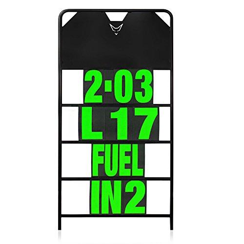 Pitboard, Boxentafel, Infotafel, groß, Set mit 37 Karten, neon grün, RACEFOXX