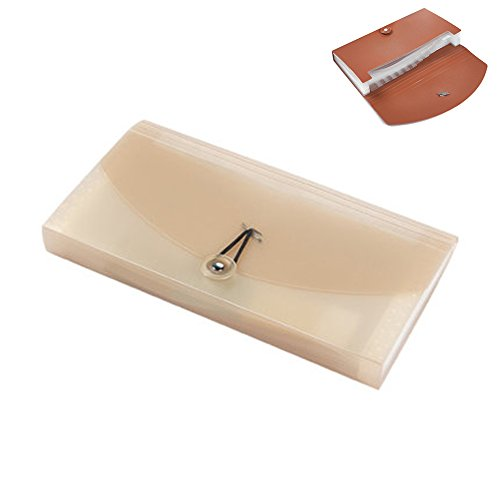 gossipboy kleiner Ordner, Checkheft-Größe, erweiterbar, für Rechnungen/Karten/Dokumente, als Ablage/Brieftasche/Organizer, mit 13Taschen Khaki Translucent Karte Datei-ordner