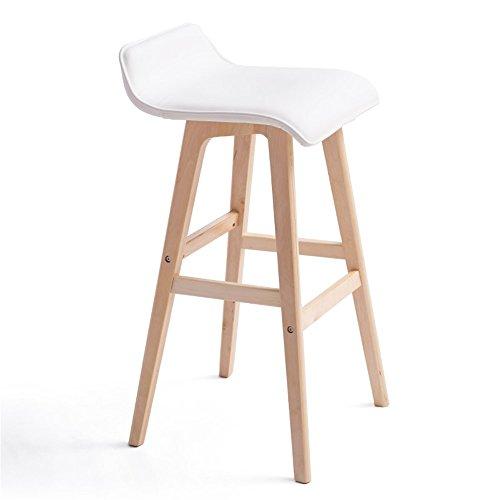 JDⓇ Runder Stuhl Hohe Hocker Holz Sitz Bar Küche Frühstück Hocker Nordic Einfache Retro-Stil Weiß 4 Beine (Farbe : B, Größe : 42.5cm*41cm*74cm) (Sitz-hocker-bar Weißes)