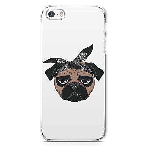 Hiphop Mops Hund - Handy Hülle für iPhone 5 | 5s | SE - Schutz Cover Case Schale Rap Bandana Fun Funny Pug