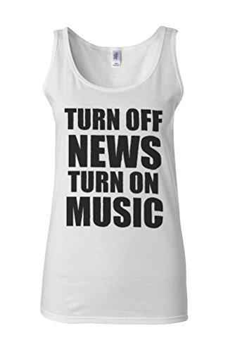 Turn Off News Turn On Music Novelty White Femme Women Tricot de Corps Tank Top Vest **Blanc