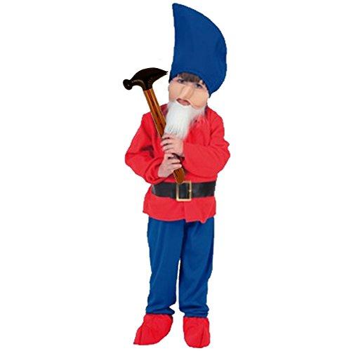 r Gr. M/L (7-9 Jahre) + aufblasbarer Hammer Kostüm Zwerg (7 Zwerge Kostüme Für Kinder)