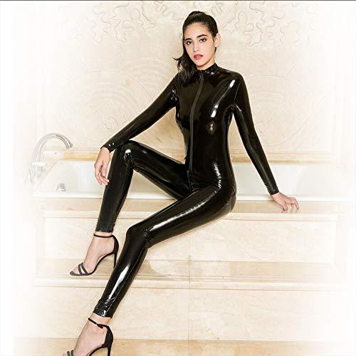 Dance Kostüm Black Cat - LNNII - Reißverschluss Lackleder Pew Overall Sexy Dessous Weiblich Sexy Spiel Overall Nachtclub Strumpfhosen Pole Dance Liebhaber Porno Anzug,Black