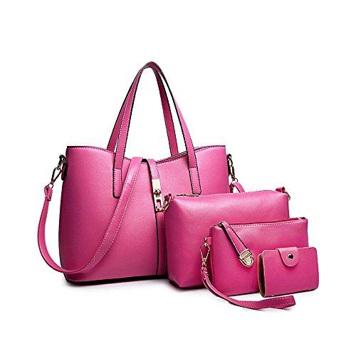 SIFINI Mujeres Moda PU Mano bolso de cuero + bolso de hombro + Billetera + titular de la tarjeta 4pcs Set Totalizador
