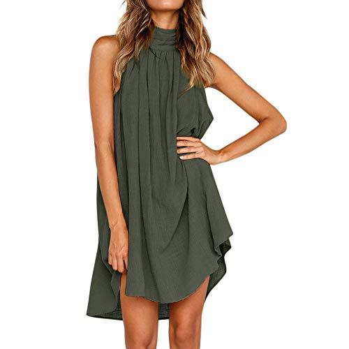 ommer! Frauen Mode Halfter Ärmelloses MiniKleid, Sommer Lockerer Kleid Baumwolle und Leinen Strandrock Volltonfarbe Party Kleid Urlaubsrock Lässiger Rock ()