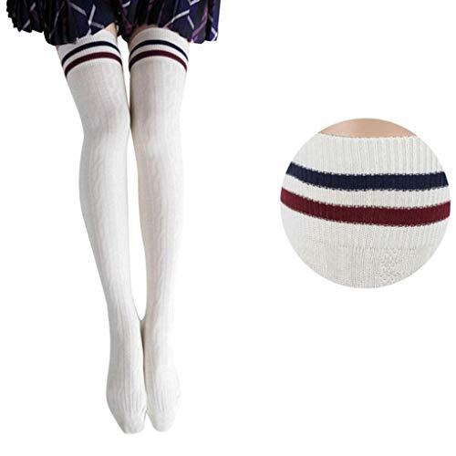 (Lange Overknee Strümpfe FORH Damen Gestrickt über Knie lange Stiefel Oberschenkel warme Socken Leggings Thigh High College Knie Socken Stricken Sport Socken Stocking Pantyhose (Weiß))