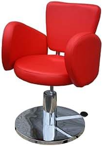 FIGARO hydraulisch höhenverstellbarer Friseurstuhl CESANO mit rundem Chromsockel Farbe rot