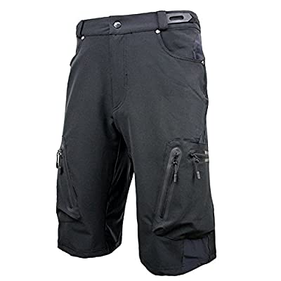 ALLY Men's Water Repellent MTB Baggy Cycling Shorts, Loose-fit Bicycle Biking 1/2 pants,Outdoor Sports Leisure Bottoms