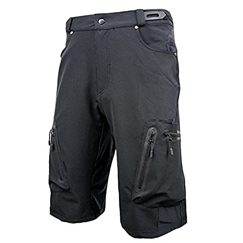 ALLY Men's Waterproof MTB Baggy Cycling Shorts, Loose-fit Bicycle Biking 1/2 pants,Outdoor Sports Leisure Bottoms (Black, L 32
