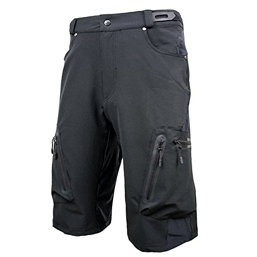 ALLY Men's Waterproof MTB Baggy Cycling Shorts, Loose-fit Bicycle Biking 1/2 pants,Outdoor Sports Leisure Bottoms (Black, XXL 36