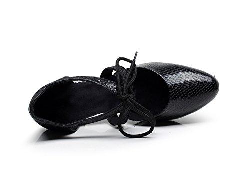Minitoo qj7047Donna Lace-up cravatta Sintetico Latina Salsa Tango Dance pompe Black