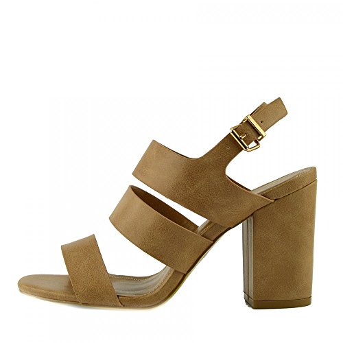 Kick Footwear - Donne Sandali Tacco con Fibbia Cinturino alla Caviglia in vernice Nera Sandali Nudo