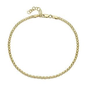 Amberta 925 Sterlingsilber Vergoldet 18K Fußspange – Klassische Fußkettchen Armband – Flexibel Verstellbar
