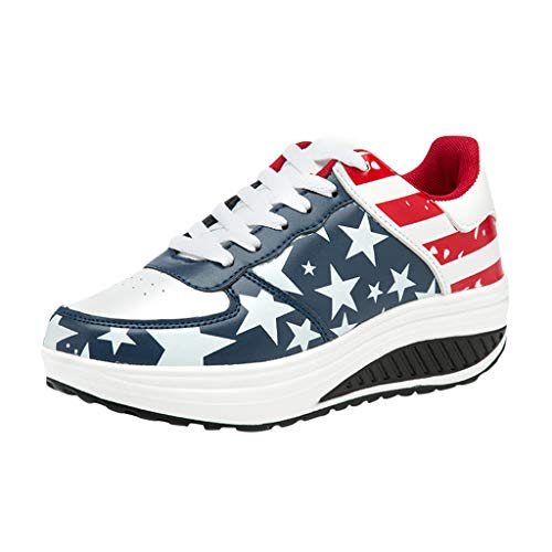 MOSERIAN Schuhe Für Damen amerikanische Flagge Flock römische Slip On Pantshoes Wedges Freizeitschuhe