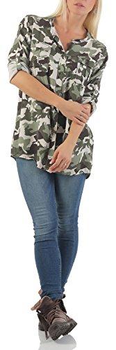Malito Damen Bluse IM Camouflage Look | Tunika mit ¾ Armen | Blusenshirt mit Knopfleiste | Elegant �?Shirt 3784 Beige
