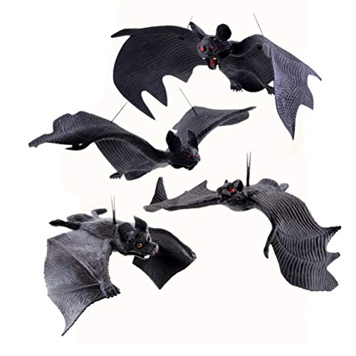 TOYANDONA 4 stücke Halloween fledermäuse realistische hängen fledermäuse gespenstisch aussehende fledermäuse Halloween hängen anhänger Dekoration Tricky Requisiten streich Spielzeug (schwarz)