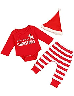 Shiningup Weihnachtsausstattung Baby Kleidung Set My First Christmas Strampler und Gestreifte Hose und Red Hat...