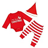 Christmas Baby Dress Outfit Set My First Christmas Pagliaccetto e pantaloni a righe e Red Hat 3 pezzi Costumi per Boy Girl