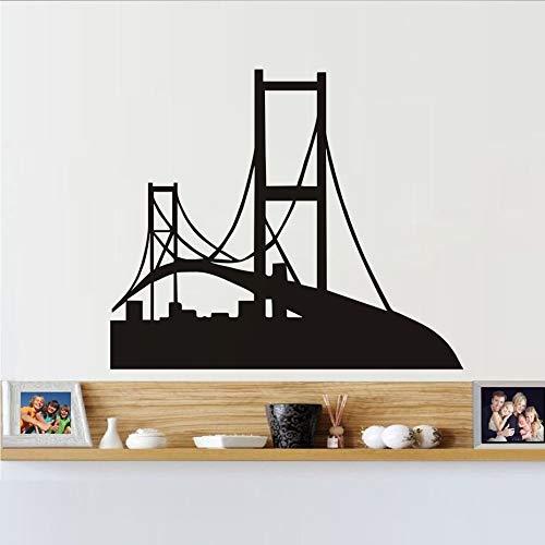Tianpengyuanshuai Schwarz Silhouette Wandtattoo Vinyl Abnehmbare Golden Gate Bridge Wandaufkleber Wohnkultur Schlafzimmer102x87cm