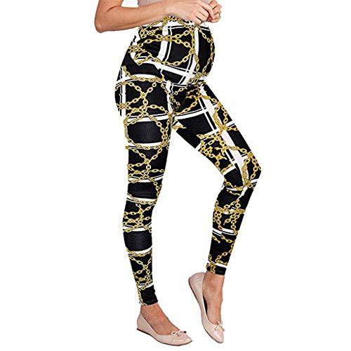 Schwangerschafts-Leggings, nahtlos, bedruckt, Stretch-Hose, für Schwangere, Komfort M gelb -