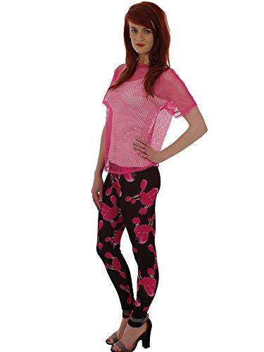 Designer Stampato lunghezza intera Leggings, taglia 8a 16-Stile Gotico Pink Poodle S/M
