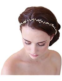 Cereoth Bridal Wreath Rhinestone Corona Garland Headband Festivales de la boda Accesorio ajustable con cinta de pelo de oro