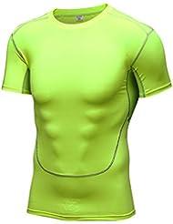 Generación M Movimiento 2 de sudor que absorbe las medias de manga corta de los deportes y el entrenamiento físico muy ajustada de manga corta de 1023 , green , s