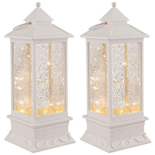 2er Set LED Tisch Lampe Laterne Glitzereffekt Lichterkette Deko Beleuchtung Wohn Ess Zimmer Leuchte weiß