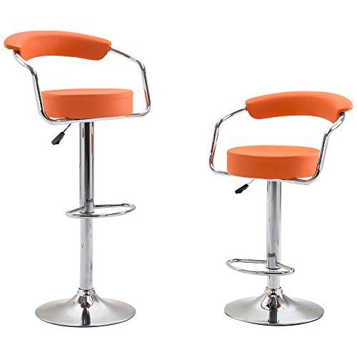 Barhocker Doppelpack höhenverstellbar - Jalano Tresenhocker mit Griff - 2er Set Barstuhl mit Lehne in verschiedenen Farben - Hocker 360° drehbar (Orange)