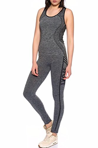 Dress Sheek Damen Fitness Sport Work Out Yoga Trainingsanzug Jogginganzug 2er Set Top Hose Schwarz - DS052