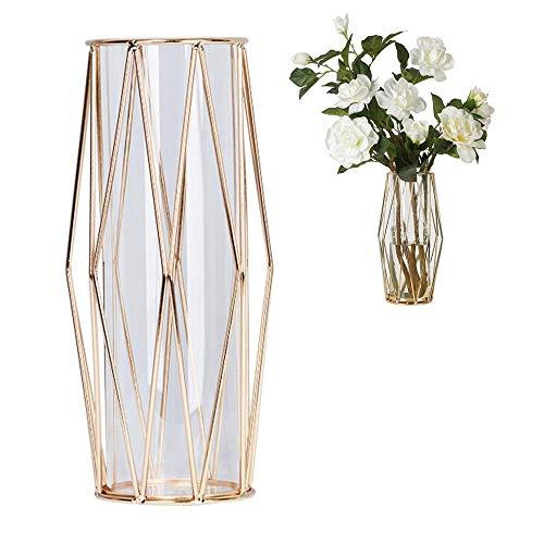 Jarrón de flores de cristal con soporte de metal geométrico, terrario de...