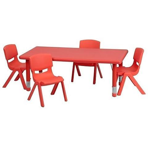 Flash Furniture Adjustable Rectangular Plastic Activity Table Set with 4
