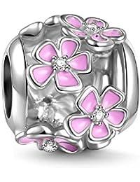 Soufeel 925 Argent Fleur Rose Exprimant L'amour Charm pour Charms collier bracelet